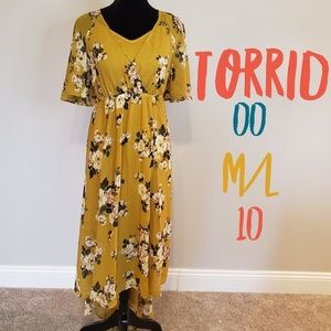Torrid - MUSTARD YELLOW FLORAL CHIFFON HI-LO DRESS